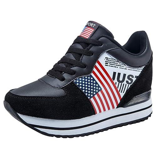 OHQ Zapatillas Mujer Moda Tacones Ocultos Plataforma Gruesa Mocasines Casual Transpirable Zapatos para Correr Athletic Cordones Air Cushion 3cm Zapatillas: ...