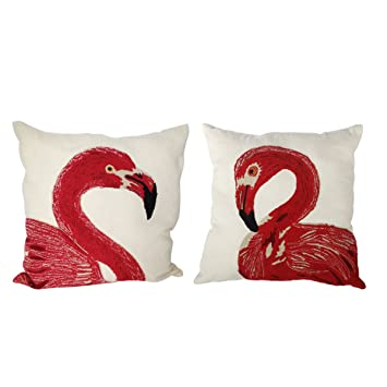 au0026b home t38486 set of 2 embroidered pillows set of 2 embroidered flamingo pillows