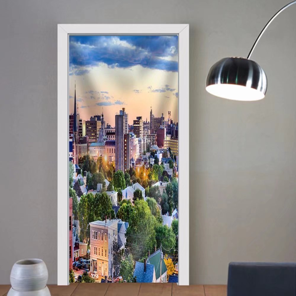 Niasjnfu Chen custom made 3d door stickers Portland Maine Usa Downtown Skyline. Fabric Home Decor For Room Decor 30x79