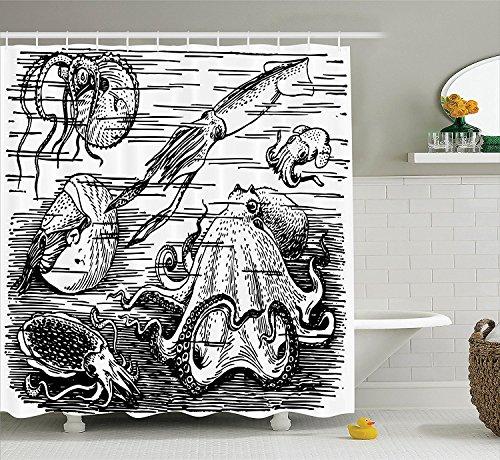 [Octopus Decor Collection MarineWildlife Print Animals with Tentacles Octopus Squid Shrimp Ocean Nature Decor Polyester Fabric Bathroom Shower Curtain Black] (Squid Costume Ebay)