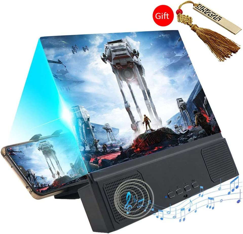 Bluetooth Speaker with Foldable Stand Protect Eyes Movie Magnifying Glass Suitble for All Smartphone attach 1 U Di 3D Video Enlarger Screen Amplifier 12 HD Screen Magnifier for Moible Phone