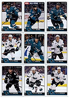 2016-17 O-Pee-Chee Hockey San Jose Sharks Team Set of 19 Cards in Protective Snap Case: Brent Burns(#21), Joe Thornton(#68), Joel Ward(#80), Justin Braun(#98), Paul Martin(#143), Roman Polak(#153), Joonas Donskoi(#173), Brenden Dillon(#186), Nick Spaling(
