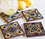 Set of 4, Moroccan Midnight Hand Painted Tile Coasters