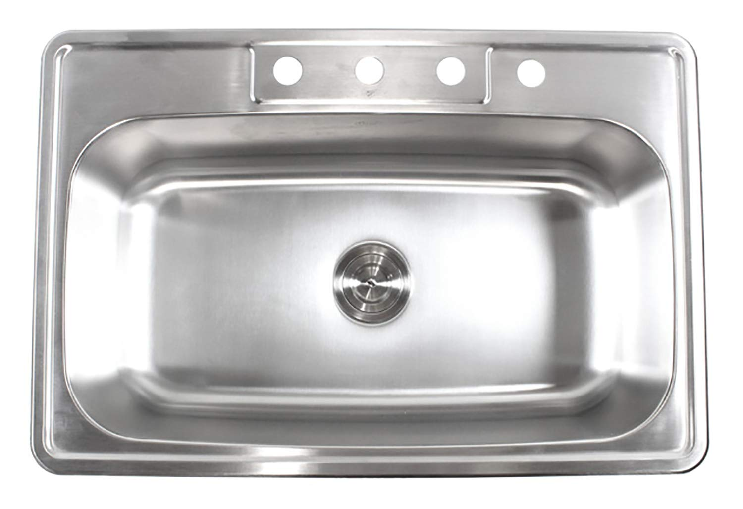 33 Inch Top-mount/Drop-in Stainless Steel Single Bowl Kitchen Sink With 4 Faucet Holes - 18 Gauge