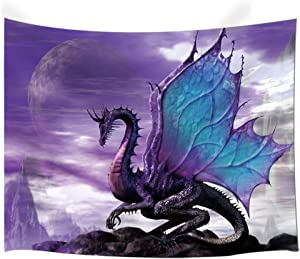 NYMB Purple Dragon Tapestry Wall Hanging, Medieval Fantasy Animals Tapestry, Psychedelic Wall Art for Bedroom Living Room Dorm Decor, 80X60in Large Tapestries