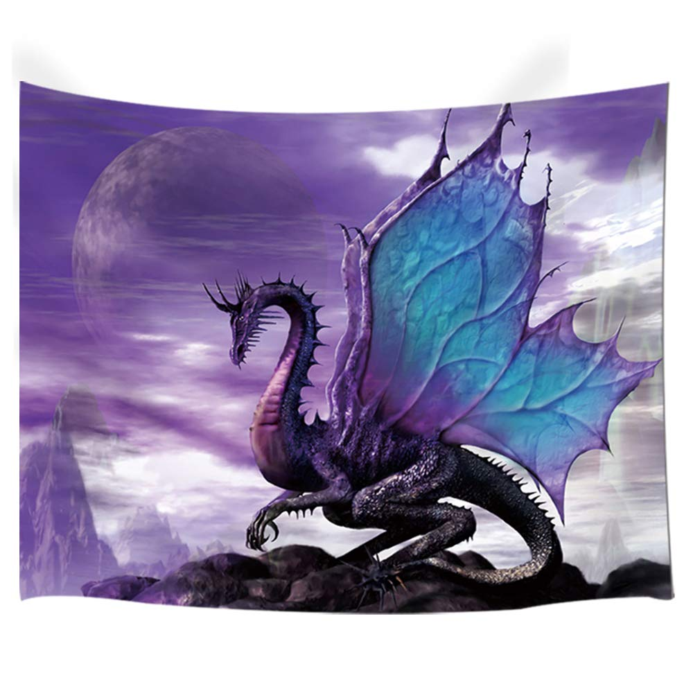 NYMB Medieval Fantasy Theme Wall Art Home Decor, Purple Dragon Tapestry Wall Hanging for Bedroom Living Room Dorm, 80X60in