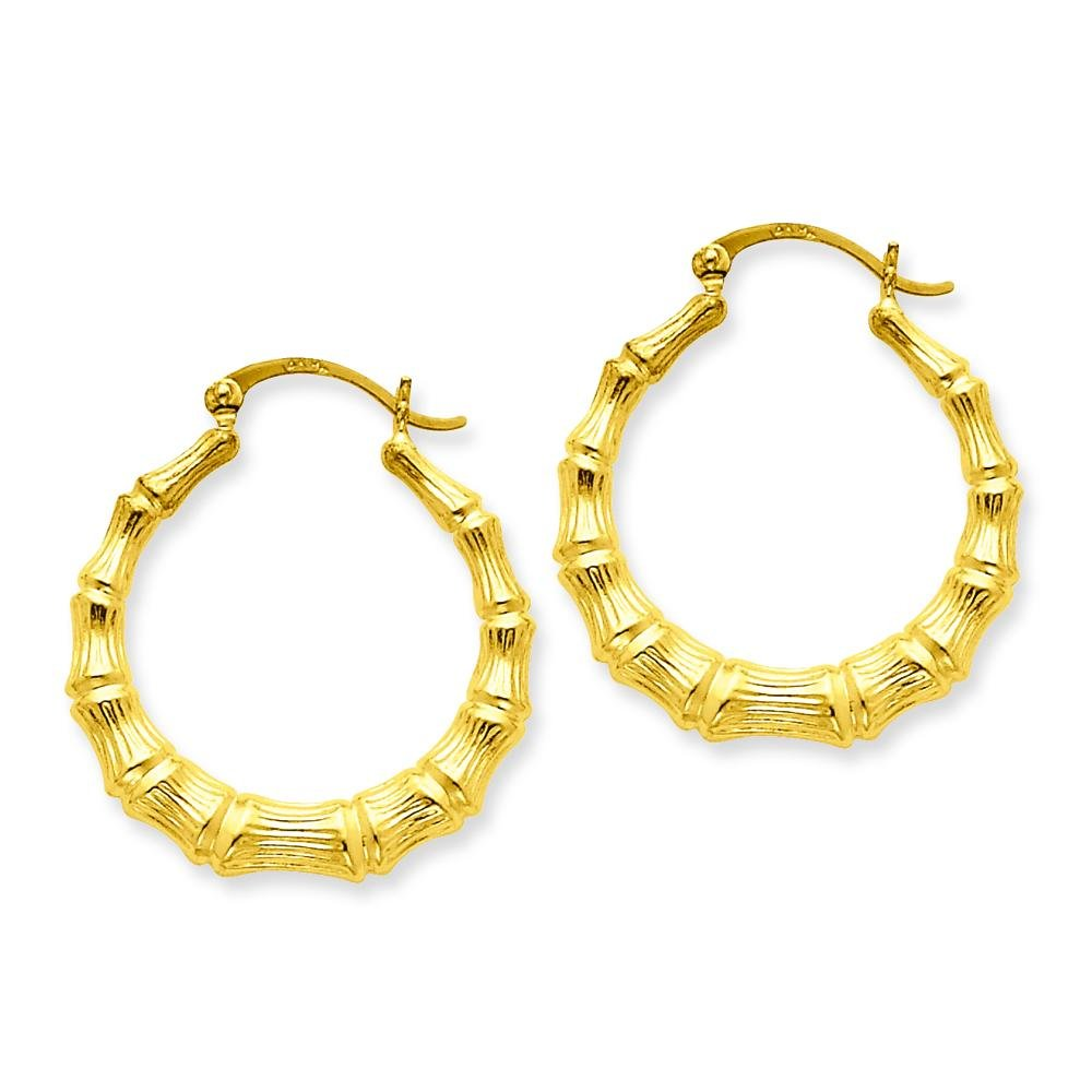 c4fe3c3b9 Amazon.com: 14K Yellow Gold Bamboo Hoop Earrings Jewelry: Jewelry