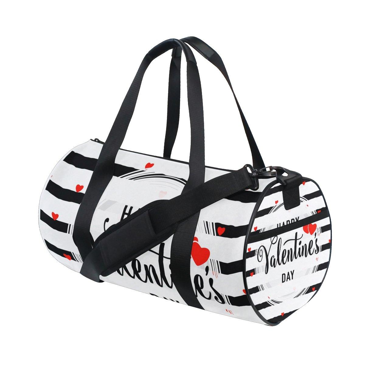 U LIFE Happy Valentines Day Floral Heart Love Sports Gym Shoulder Handy Duffel Bags for Women Men Kids Boys Girls