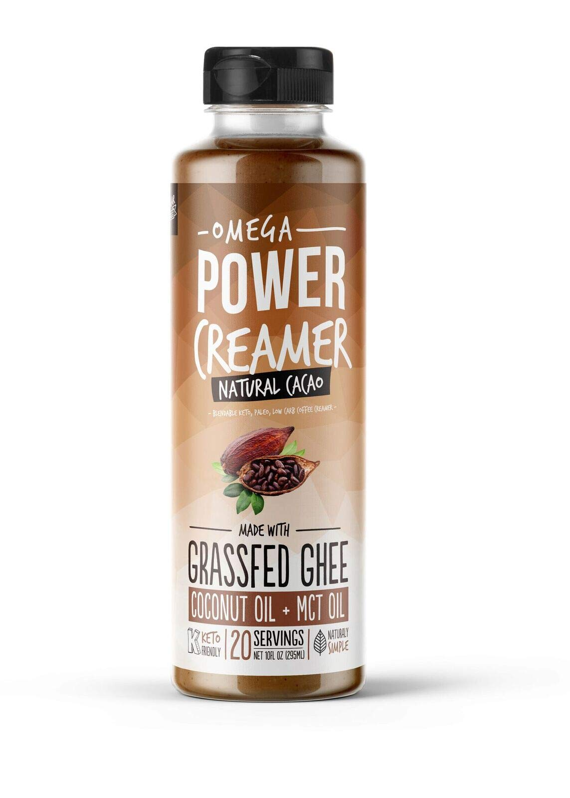 Omega PowerCreamer - CACAO - Grass-fed Ghee, Organic Coconut Oil, MCT Oil, Organic Cacao Powder | Liquid Keto Coffee Creamer | Paleo, Sugar Free, Unsweetened 10 fl oz (20 servings)