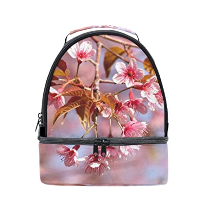 00837d0eb626 Amazon.com - HEOEH Pink Cherry Blossoms Lunch Bag Insulated Lunch ...