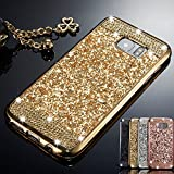 ZCDAYE Samsung Galaxy S10 Plus Case,Bling Glitter [Crystal Rhinestone Diamond] Soft TPU Rubber Silicone [Electroplating Edge] Shockproof Protective Back Case for Samsung Galaxy S10 Plus - Gold