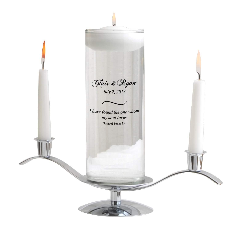 Personalized Floating Wedding Unity Candle - Personalized Wedding Candle - Includes Stand - Song of Songs