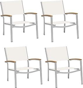 Oxford Garden Travira TVCASCN4 Chat Chair - Natural Sling Seat - Natural Tekwood Armcaps - Set of 4