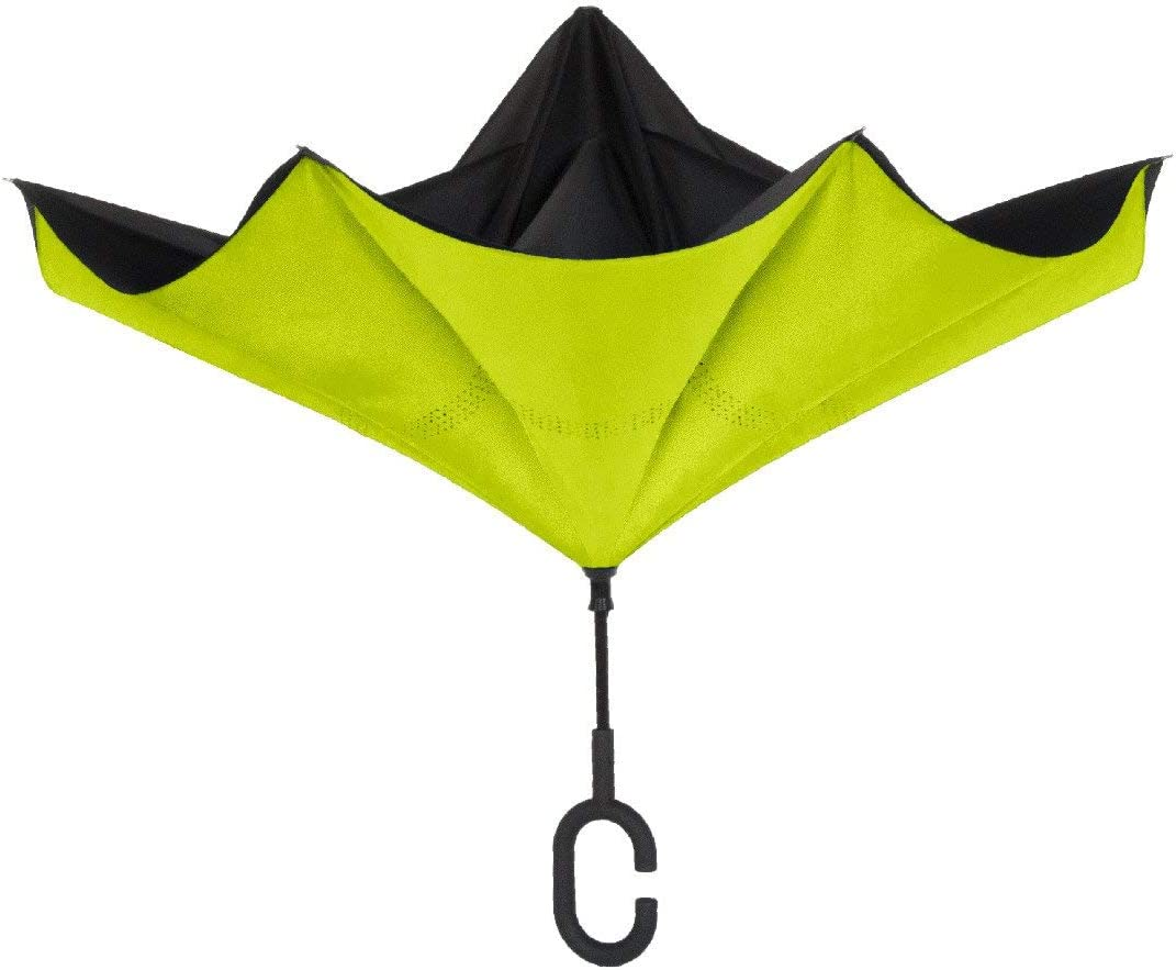 ShedRain UnbelievaBrella Reverse Umbrella: Black and Sour Apple Green
