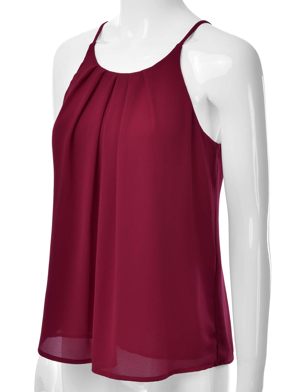 EIMIN Women's Crewneck Pleated Front Double Layered Chiffon Cami Tank Top Burgundy M by EIMIN (Image #2)