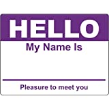 Purple Hello My Name Is Badge Tag Labels Stickers