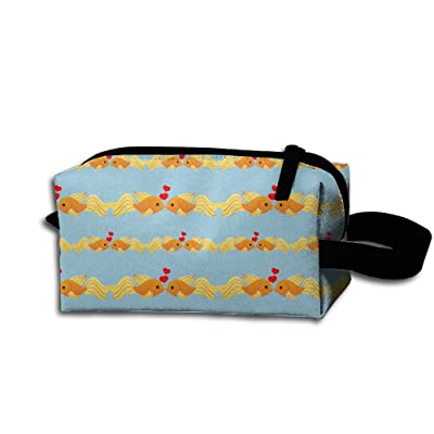 well-wreapped Loving Fish Cartoon 3D Pattern Printed Portable Cosmetic Bag Grooming Makeup Bag