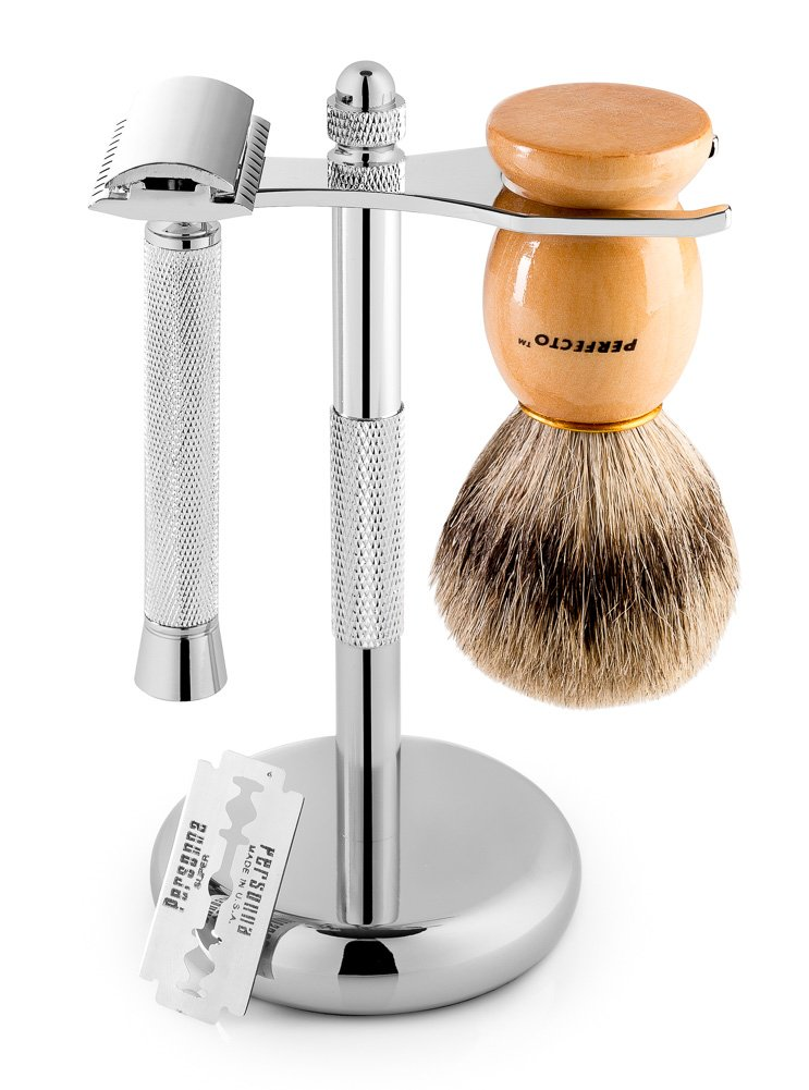 Perfecto Deluxe Shaving Kit, 100% Badger Shaving Brush, Chrome Razor and Brush Stand and Chrome Double Edge Safety Razor