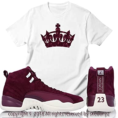 27221d8464ab4 Custom T Shirt Air Jordan XII Retro 12 Bordeaux Sail White JD 12-7-4 ...