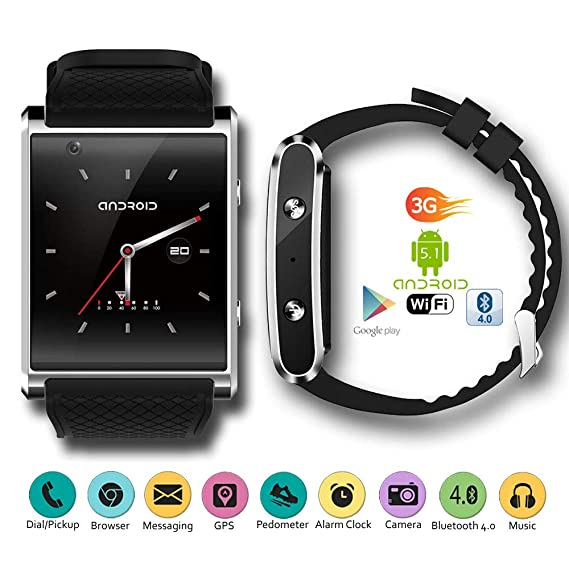 Amazon.com: Indigi 2017 Android 5.1 3G Unlocked SmartWatch ...