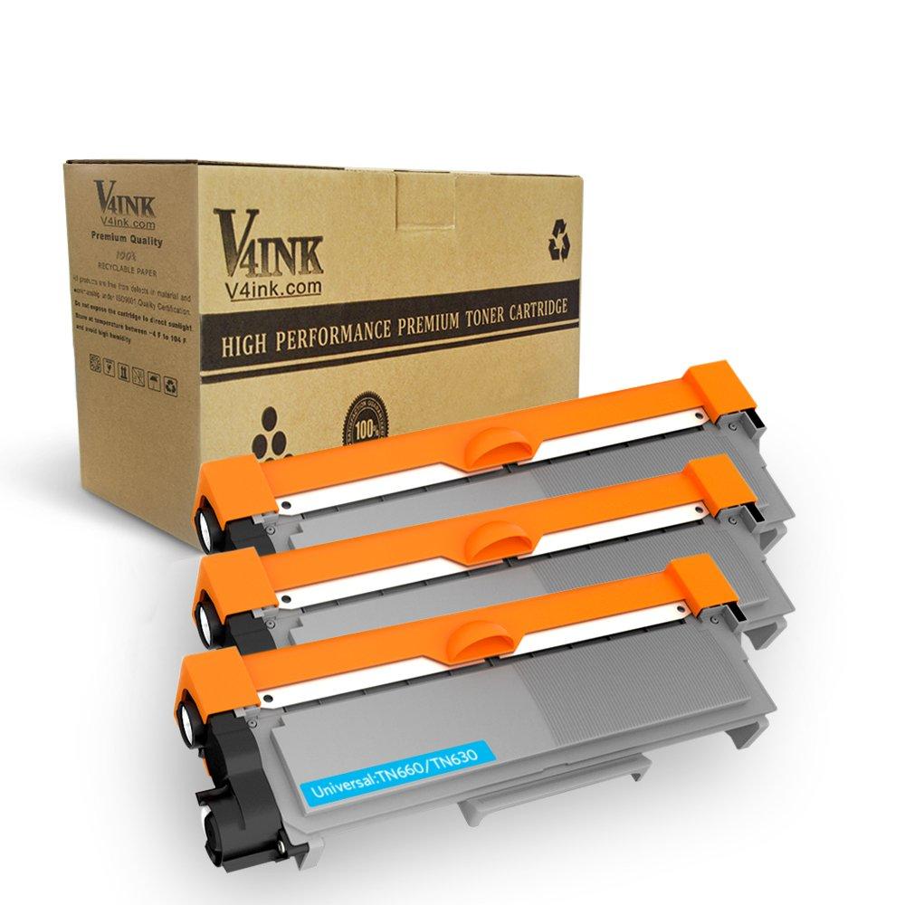 V4INK 3-Pack New Compatible Brother TN630 TN660 Toner Cartridge Black for Brother HL-L2340DW HL-L2300D HL-L2380DW MFC-L2700DW L2740DW DCP-L2540DW L2520DW HL-L2320D MFC-L2720DW L2740DW Printer