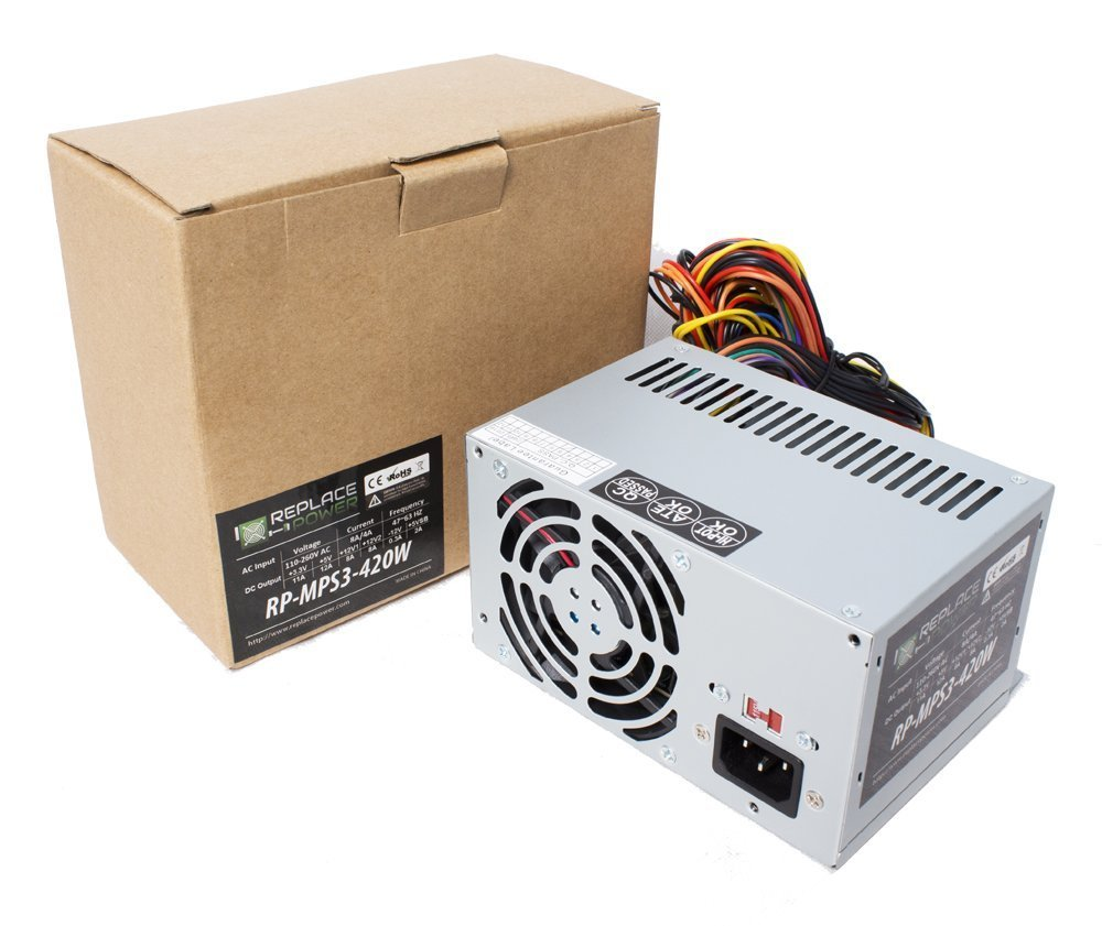 Replace Power® 420W 420 Watt ATX Power Supply Replacement for HP Compaq HIPRO HP-D2537F3R, HP-D3057F3R