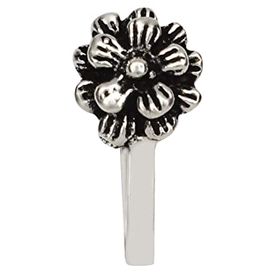 4201e3a8a52 Buy Oxidised Silver Finish Round Shape Wonderful Press On Nose Clip  Ring Pin for Girls and Women Online at Low Prices in India