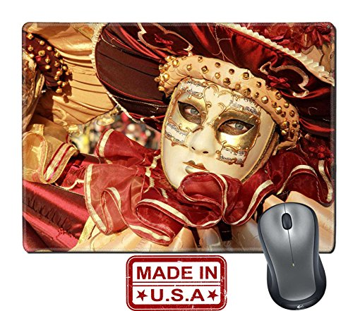 "Liili Natural Rubber Mouse Pad/Mat with Stitched Edges 9.8"" x 7.9"" Close up of a colourful mask in gold and red with music score Venice Carnival Photo (Venice Carnival Costumes Price)"