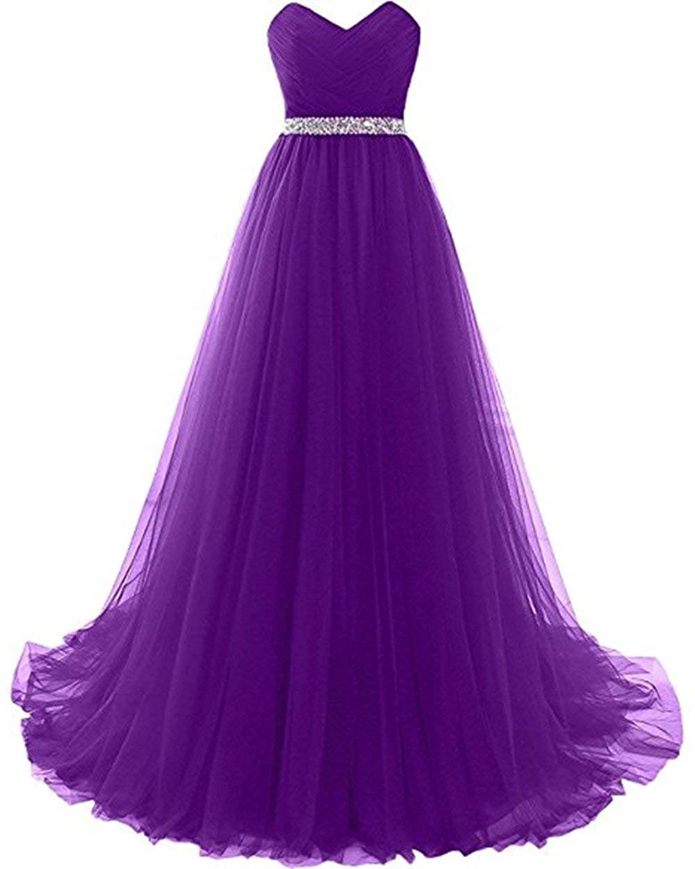 Purple Liaoye Women's Long Sweetheart Beaded Prom Dresses Tulle Evening Ball Gown Homecoming Dress