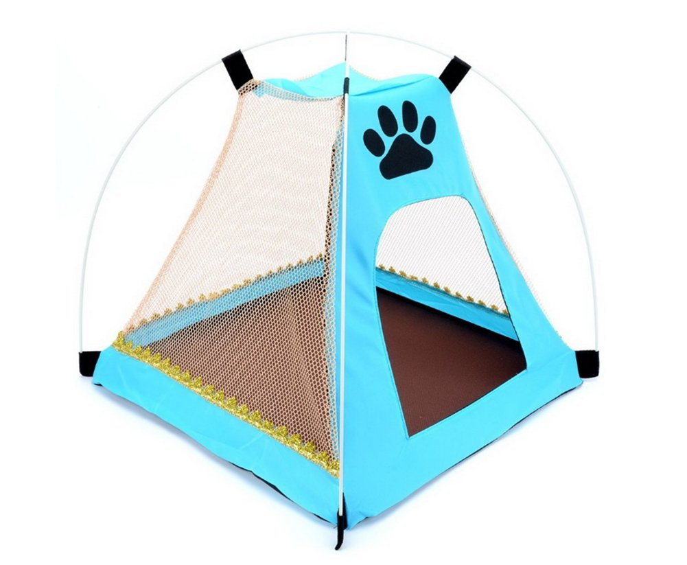 AIRUIRUI Puppy Dog Bed, Pet Tent Bed, Portable Folding Mesh Oxford Cloth Sun Shade Beach Camping Travel Pop up Tent Teepee for Cat Small Animal Outdoor Indoor, 16.8'' W x 16.8'' L x 16'' H (Blue)