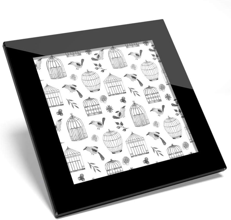 Posavasos de cristal Awesome BW, diseño de jaula de pájaros, brillante, calidad brillante, protección de mesa, para cualquier tipo de mesa #42565