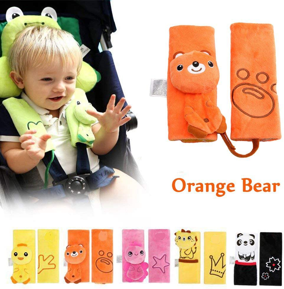 bear Baby Child Kids 1 Pair Stroller Cartoon Animal Safety Seat Belt Cover Protection Car Seats Strap Shoulder Pad Cushion Soft Accessories