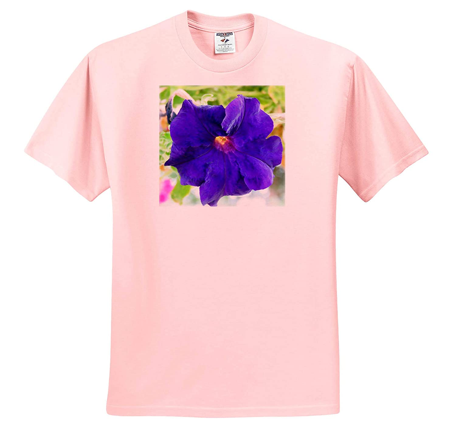 Florid Flower 3dRose Jos Fauxtographee A Purple florid Flower on Pink and Green T-Shirts