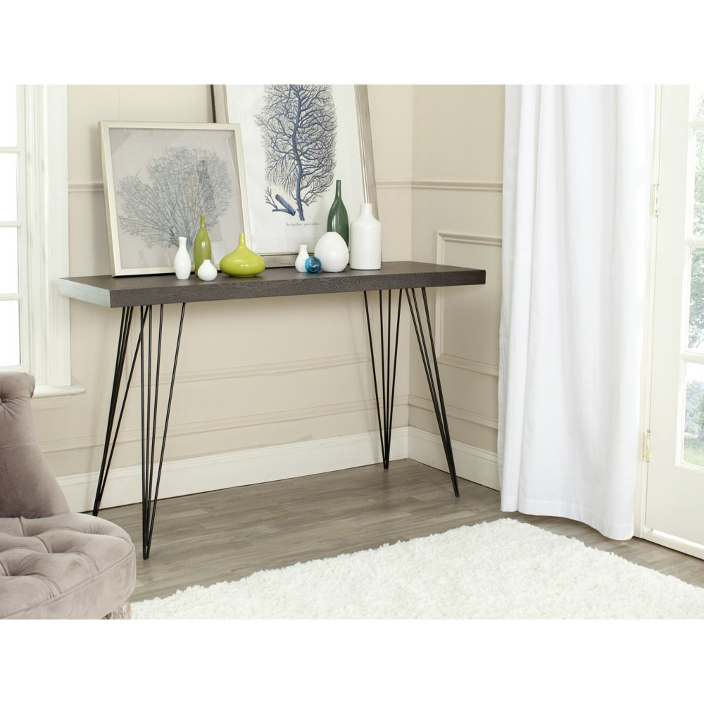 Safavieh Home Collection Wolcott Mid-Century Modern Dark Brown and Black Console Table