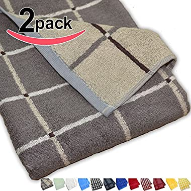 Luxury Bamboo Kitchen Dish Towels - Graphite & Gray Plaid - High Quality, 3x More Absorbent Than Cotton Towels and Eco Friendly! - Also Makes a Great Tea Towel or Hand Towel! - 26.5  X 13  - 100% Money Back Guarantee (Set of 2)