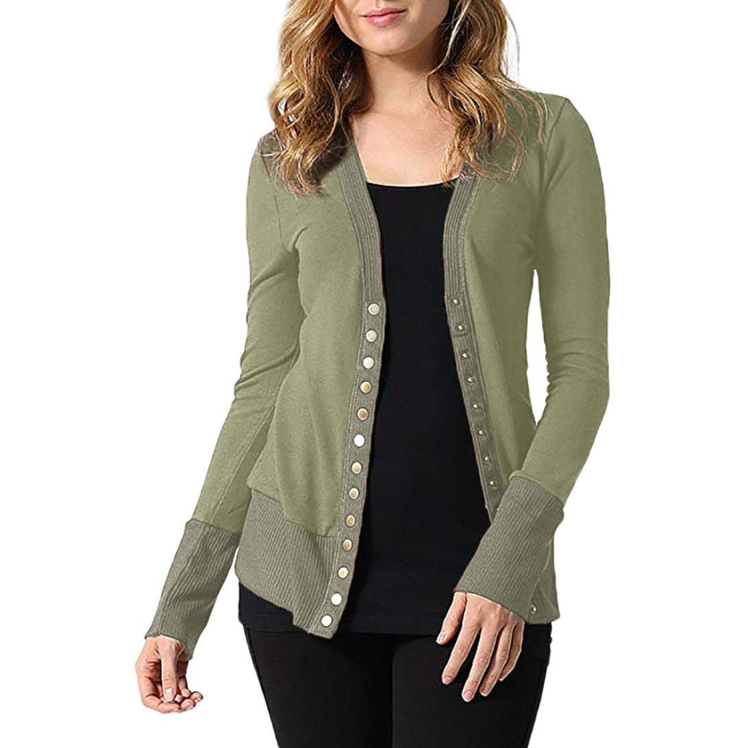 iTLOTL Women's Business V-neck Metal Buttons Thicken Sweater Solid Color Long Sleeve(Army Green,US-6/CN-M)