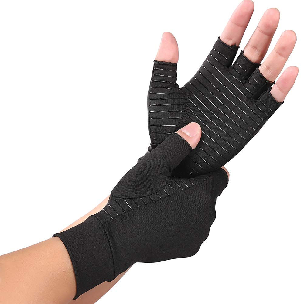 NEWBIT Copper Compression Arthritis Gloves - Fingerless Sports Fit Glove for Rheumatoid, Osteoarthritis, Carpal Tunnel, Computer Typing (Medium)
