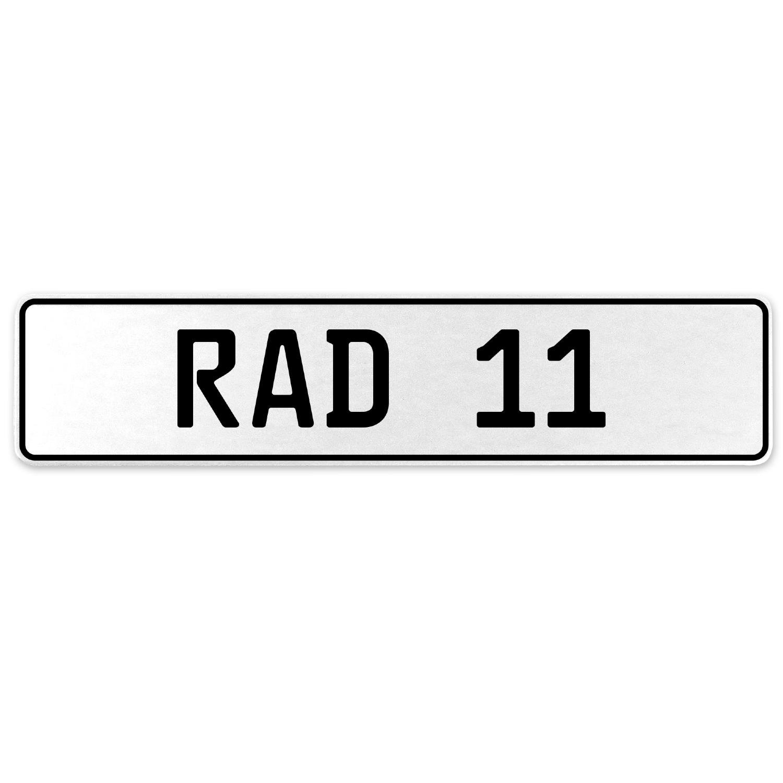 Vintage Parts 553915 RAD 11 White Stamped Aluminum European License Plate
