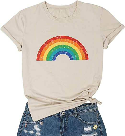 MYHALF Womens Cute Good Vibes ONLY Rainbow Short Sleeve Letter Print T Shirt Tops White