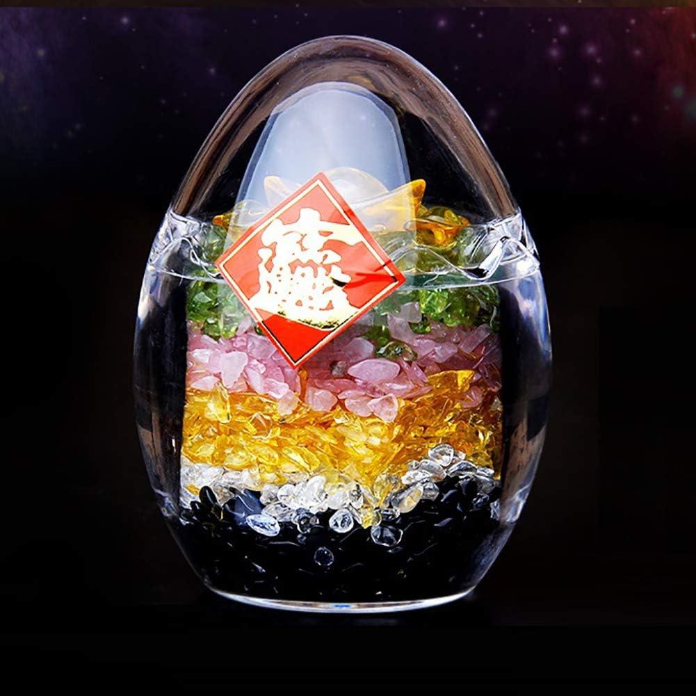 Deykhang Piedras de Cristal Ornamento Figurita Wu Lu Huevo Cinco Elementos Lingotes de Piedras Preciosas psíquico Meditación Feng Shui Riqueza Suerte Matrimonio Relaciones metafísico,Egg Big