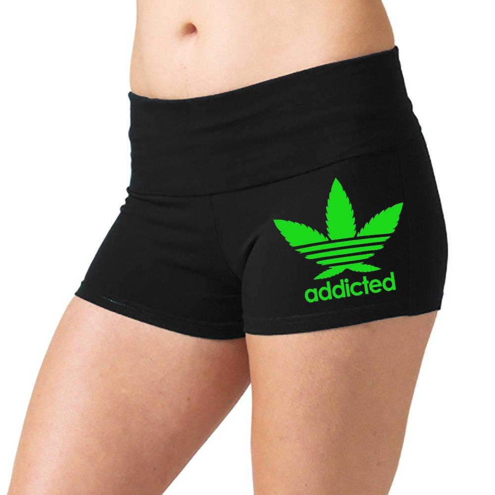 Women's Cannabis Leaf Addicted V355 Black Yoga Workout Booty Shorts Black