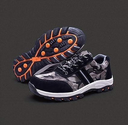 YXWa Botas para Hombres Zapatos de Seguridad Antideslizantes, Zapatos para Alpinismo, Entrenamiento de Seguro
