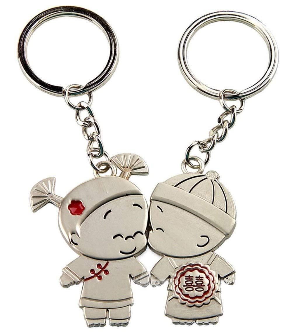 EEvER Design parfait Mignon couple poupée conception couple paire clé avec pendentif coeur