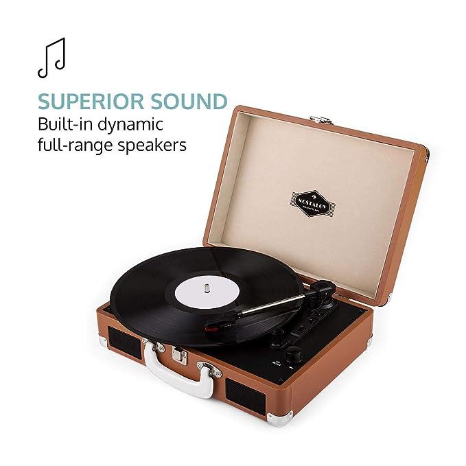 auna Peggy Sue - Tocadiscos con altavoz, reproductor de vinilos, accionamiento por correa, altavoces estéreo, USB, digitalización, café