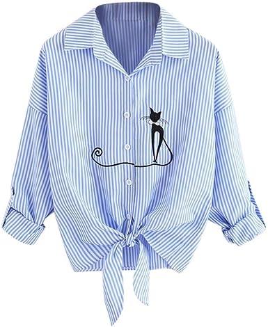 Blusa para Mujer Camisas De Manga Larga Rayas Elegante con ...