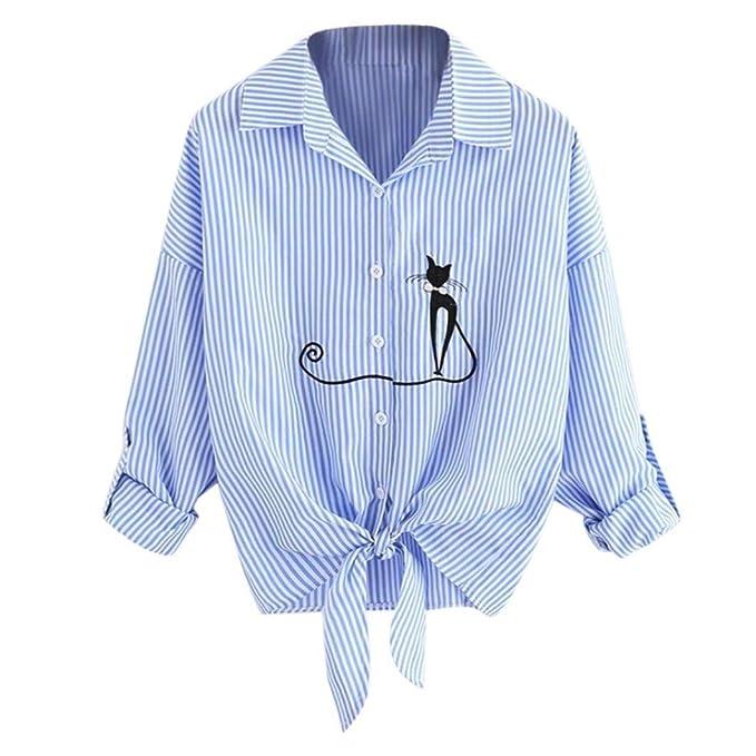 736a9d7ac Blusa para Mujer Camisas De Manga Larga con Rayas Moda Ropa Tops ...