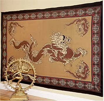 Asian Dragon Indian Bedspread in Red & Tan, Double Size
