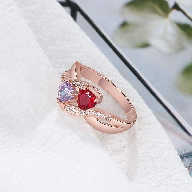 Lam Hub Fong - Anillo de Compromiso para Mujer, Personalizable, 2 Piedras de imitación de cumpleaños, Boda, Promesa de Nombre, Anillos de Oro Rosa: ...
