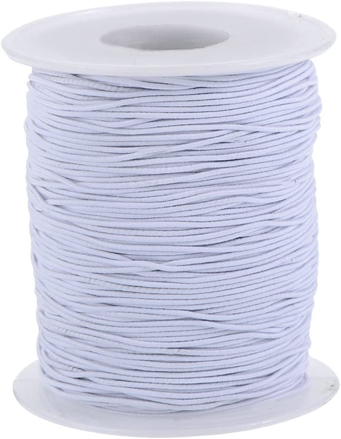 Round Hat Elastic Cord 1mm 2mm 3mm Black or White for Beading Crafts Hats