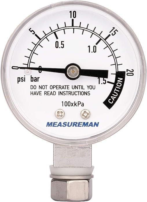 Measureman Stainless Steel Pressure Cooker Gauge, Pressure Canner Gauge, Steam Pressure Gauge, 2